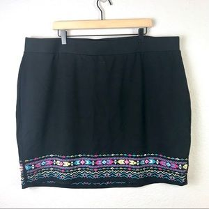Torrid Embroidered Ponte Mini Skirt